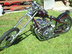 old school honda powered chopper in front of my house