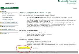 manulife travel insurance step 2 choose a plan that s right for you select get a quote now