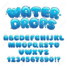 Blue Letters Cartoon Water Drops Font Funny Blue Alphabet Vector Water Letters