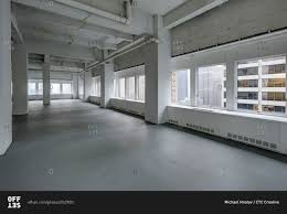 industrial office space. open modern industrial office space with city view