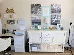 budget friendly home offices. Tiffany Blue Home Office, Pretty Office Makeover, Remodel, Budget Friendly Gold White Craft Room Offices
