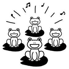 カエルの合唱梅雨夏の季節6月の行事無料白黒イラスト素材