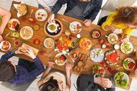 Friends Having Dinner Table Top View People Eat Healthy Food