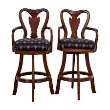 black fleur de lis upholstered wood bar stools