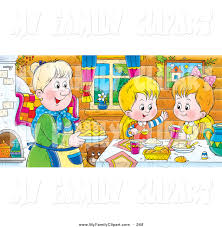family dinner table clipart. happy boy and girl at a dining room table, eating fresh food made by grandma family dinner table clipart
