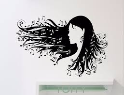 Notation Wall Stickers Women Flying Hair Treble Clef Music Notes