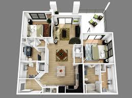 Awesome Two Bedroom Apartment D Floor Plans Bedroom - Studio apartment floor plans 3d