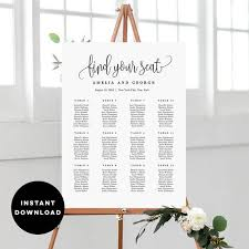 7 Sizes Wedding Seating Chart Template Editable Wedding