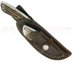 boker 02ba5130hh hunter combo set 2 knives stag handle leather sheath osograndeknives