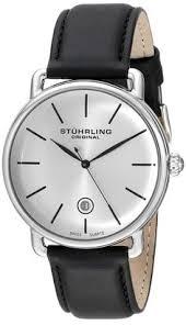 amazon com stuhrling original men s 747 03 atrium automatic stuhrling original men s 768 01 ascot swiss quartz date black leather strap watch