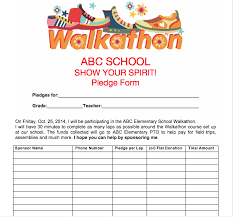 Walkathon Pledge Form Templates Pto Spring Activities Use Our Printables For Upcoming