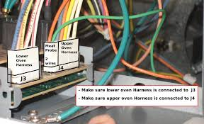 ge ovens applianceboards there is a good chance that the lower oven harness is connected to j4 and the upper oven harness is connected to j3 swap those connections and you should