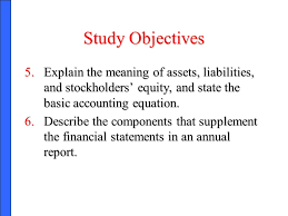 study objectives explain the meaning of assets liabilities and stockholders equity and