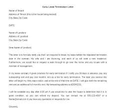 Sample Letter To Landlord To Terminate Lease Early Lease Termination Letter Landlord To Tenant Sample Letter Landlord