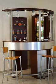 terrific corner small bar design with hanging wine glass rack and bar stools decor complete curved bar table