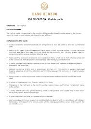 Chef Job Description Resume Fresh Chef Job Description Resume Chef Responsibilities Business 36