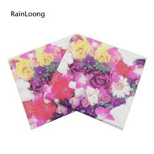 Flower Printed Paper Us 1 79 10 Off Rainloong Flower Printed Paper Napkin Floral Rose Festive Party Tissue Napkin Supply Party Decoration Paper 20pcs Pack Lot In