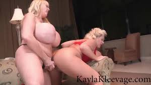 Huge boobed BBW Kayla Kleevage and Claudia Marie have strapon.