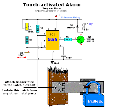 time delay touch activated alarm system circuit wiring diagrams touch activated alarm