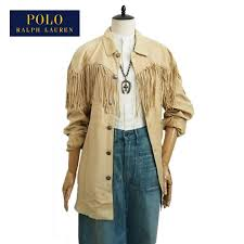 ralph lauren polo womens leather fringe oversized jacket and beige polo by ralph lauren jacket