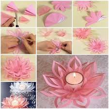 How To Make A Lotus Flower Out Of Paper Diy Paper Lotus Candlestick
