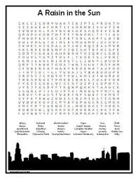A Raisin In The Sun Character Chart Answer Key A Raisin In The Sun Word Search Sun Puzzles Raisin Word