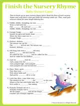 Baby Shower Games Nursery Rhyme  Baby Shower Games Frugal And Baby Shower Games Nursery Rhymes