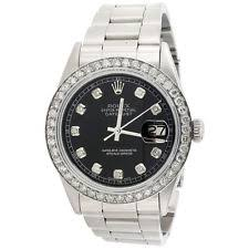 men s rolex watches new used vintage mens rolex 36mm datejust diamond watch oyster steel band custom black dial 2 ct
