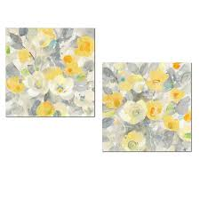 Flower Printed Paper Beautiful Painterly Yellow Grey And Orange Buttercup Flower Print Set By Albena Hristova Floral Decor Two 12x12in Unframed Paper Posters