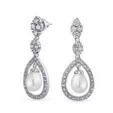 bling jewelry bridal pearl pave cz silver teardrop chandelier earrings