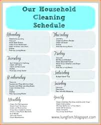 Weekly Household Cleaning Schedule Template Weekly House Cleaning Schedule Template Chart Chores To Do