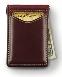palm west leather money clip bifold wallet