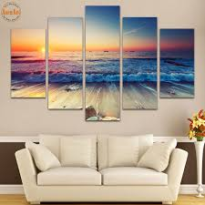 Paintings For Living Room Wall 5 Panel Wall Painting Buddha Wall Art Canvas Printed Painting For