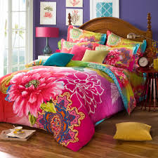 twin full queen size 100 cotton bohemian boho style colourful pink green bedding sets duvet