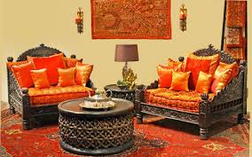 indian living room furniture. traditional indian living room carved sofas rich cushions fabric artwork furniture