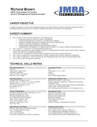 Professional Objectives For Resume Resume Work Template
