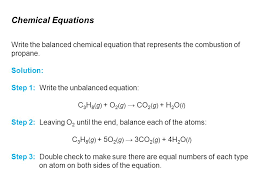 chemical equations write the balanced chemical equation that represents the combustion of propane solution