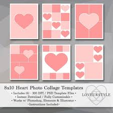 8 X 10 Heart Template 8x10 Photo Template Pack Heart Templates Photo Collage Scrapbook Templates Photography Templates Collage Template Instant Download