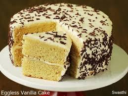 Eggless Vanilla Cake Recipe Swasthis Recipes