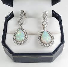 estate 14k white gold australian opal diamond dangle earrings