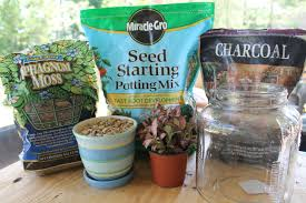 all of which can be found at your local gardening supply potting soil pebbles or pea gravel activated charcoal and spagnum moss