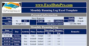 Download Monthly Running Log With Charts Excel Template