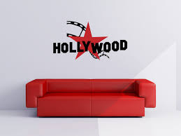 hollywood star and strip vinyl wall words decal sticker