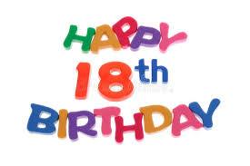 Happy 18th <b>Birthday</b>. Plastic <b>letter</b> blocks <b>arranged</b> on white ...