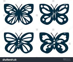 Butterfly Cutouts Template Set Cutout Butterflies Laser Cutting Butterflies Stock Vector