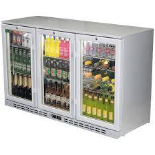 rhino 3 door silver glass door bar fridge model sg3h s