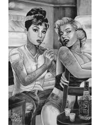 james danger harvey audrey hepburn and marilyn monroe tattoo poster print 24 x 36 on marilyn monroe tattoo wall art with sweet deal on james danger harvey audrey hepburn and marilyn