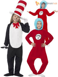 kids cat in the hat costume dr seuss thing 1 2 s boys fancy dress book week ebay