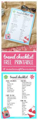 Travel Checklist Printable Create Craft Love