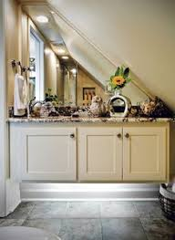 making use of small slanted ceiling e in farmhouse upstairs bathroom with little to no